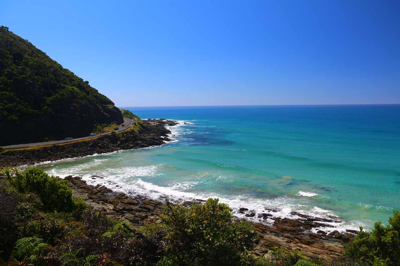 View of the Great Ocean Road and the Southern Ocean from the Sheoak Falls Track on a gorgeous day