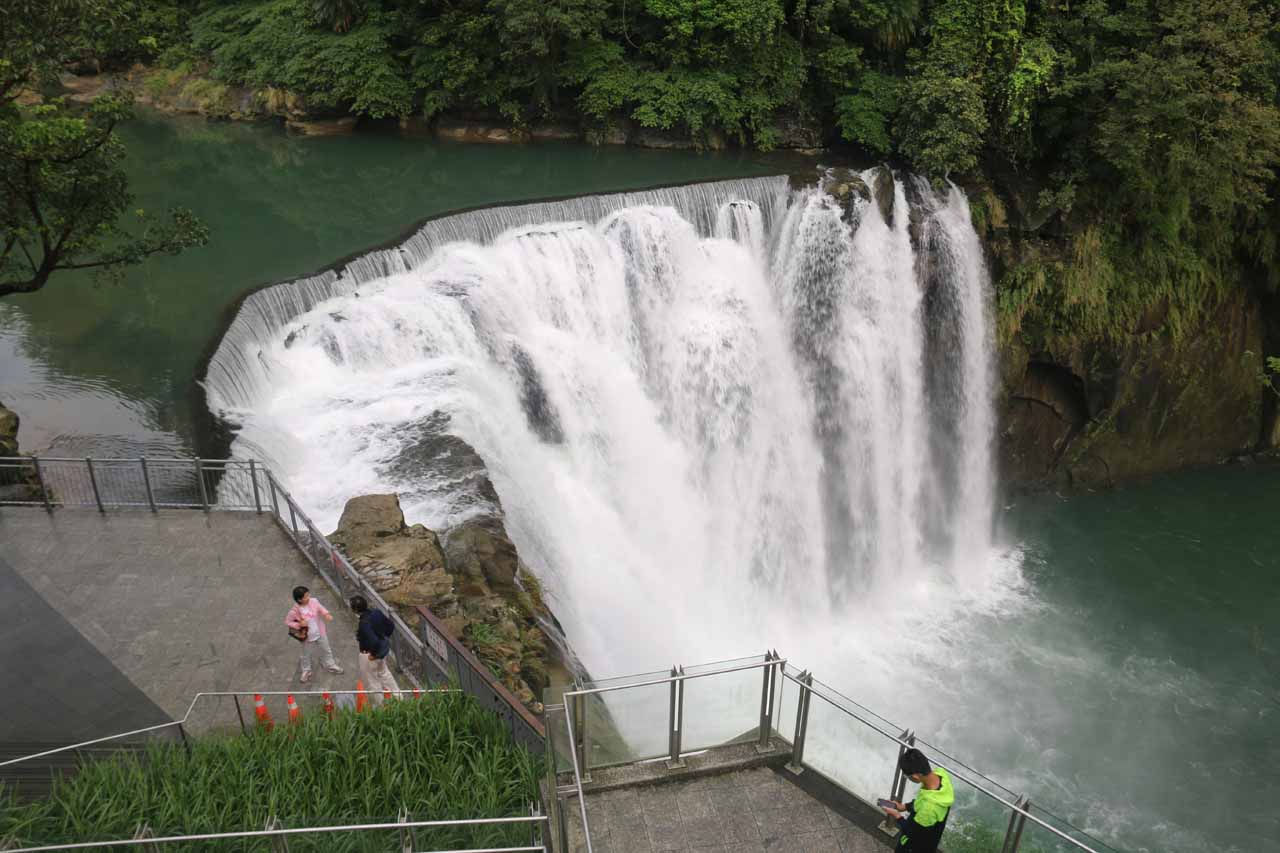 Once they finally let us in, we first got to look down over the brink of the Shifen Waterfall