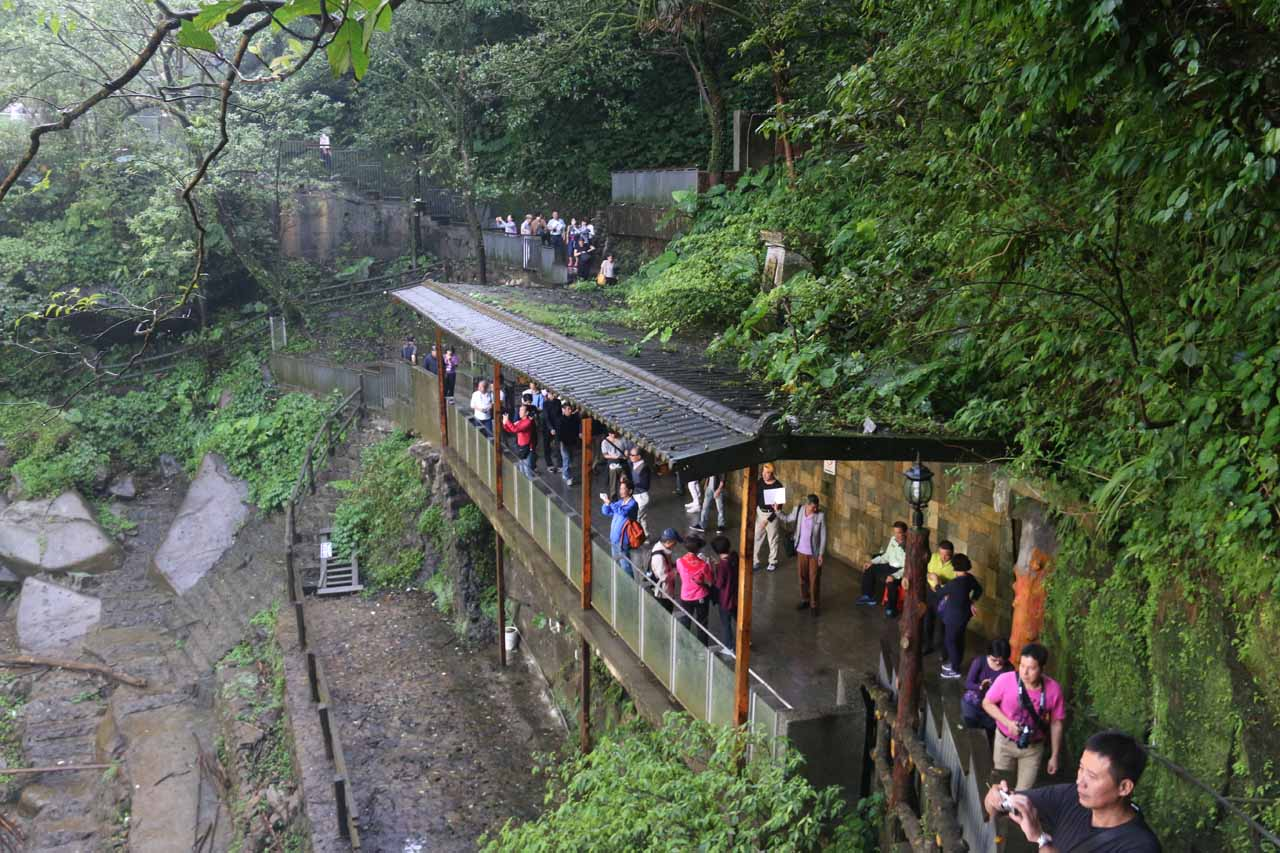 Looking back at the very busy viewing area for the Shifen Waterfall