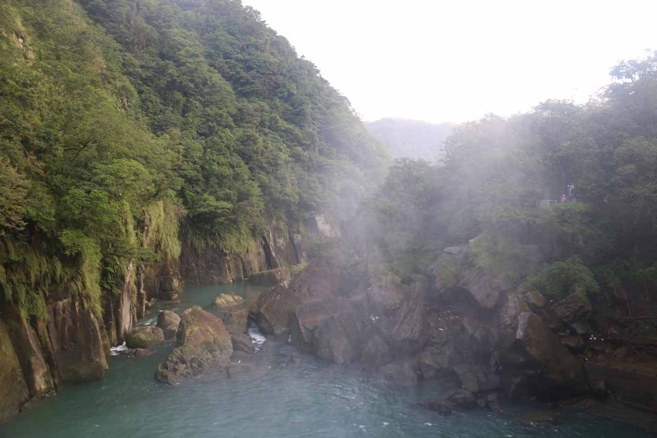 Looking downstream at what appeared to be a major landslide and rock fall that might have destroyed the old lookouts providing an even more direct and frontal view of the Shifen Waterfall