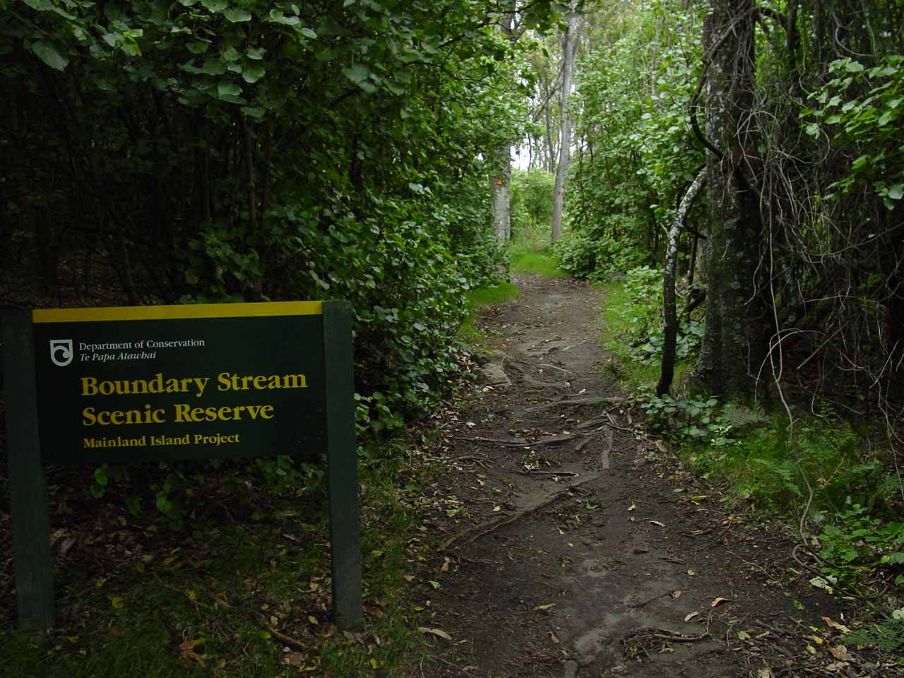 Sign declaring that we were entering the Boundary Stream Scenic Reserve