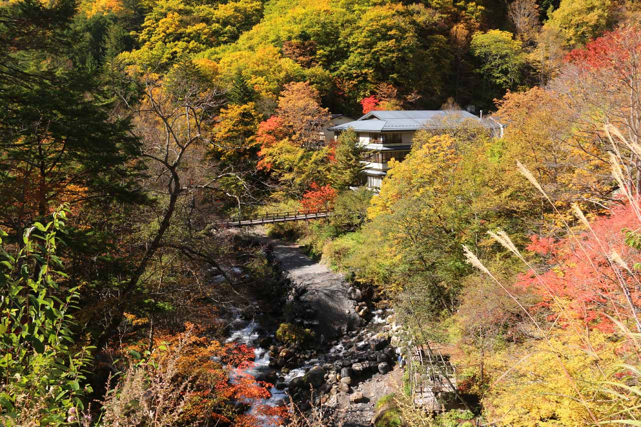 Ryujin Falls was right at the heart of the Shirahone Onsen, which also happened to be exhibiting koyo during our visit