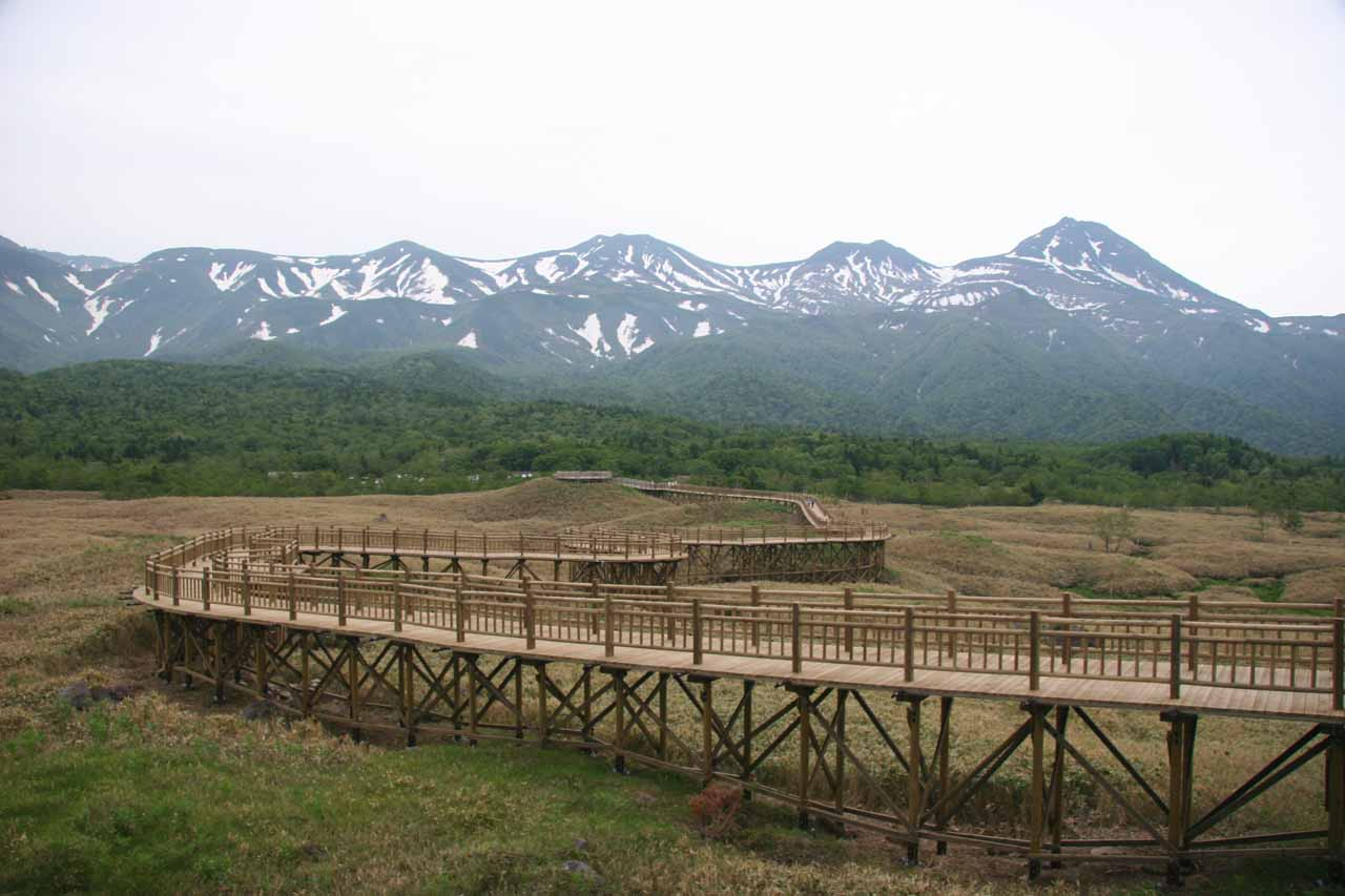 Looking back at boardwalk over swamp fronting mountains