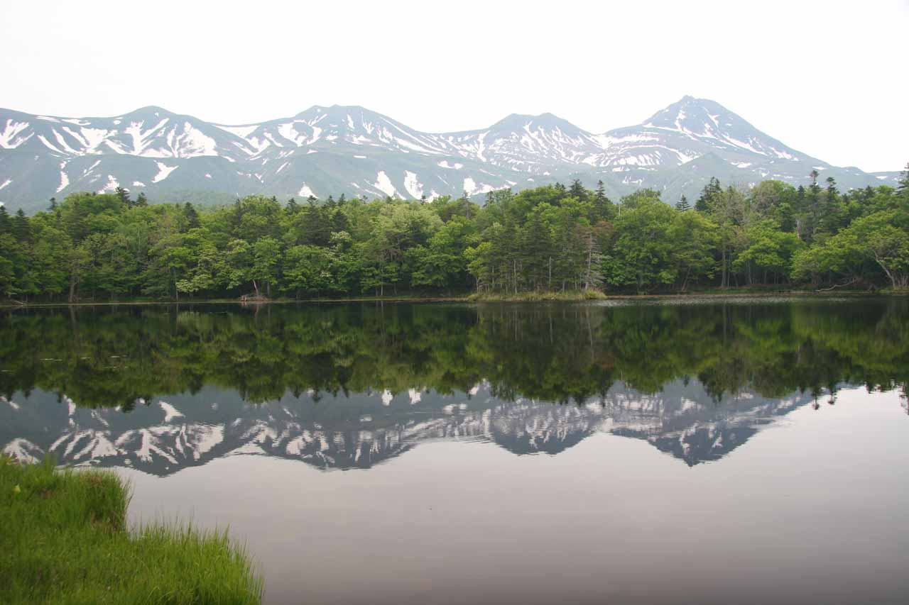 Almost perfect reflections of the mountains in the Shiretoko Five Lakes