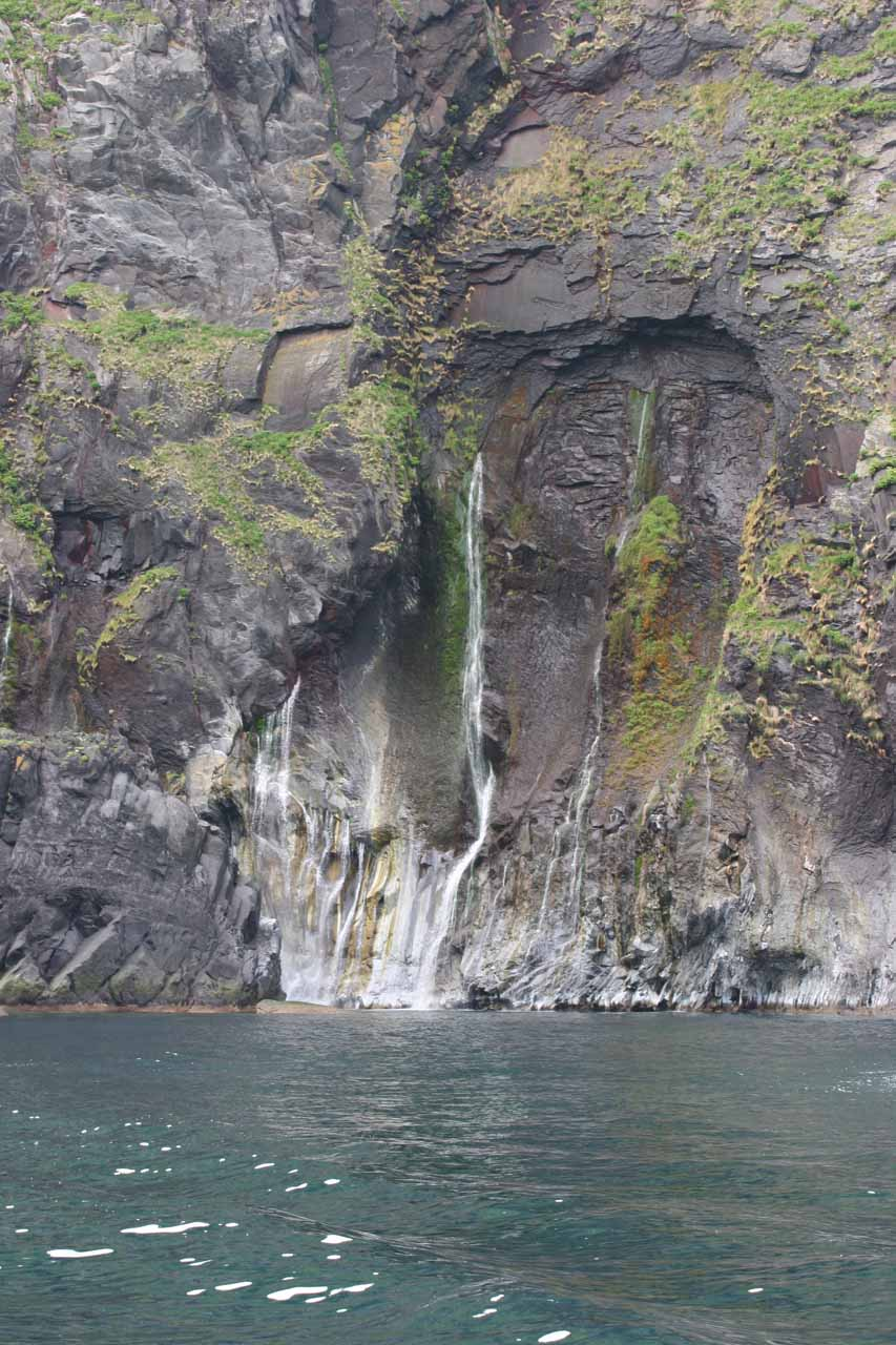 More contextual look at a fairly high volume seeping cliff waterfall prior to Furepe-no-taki
