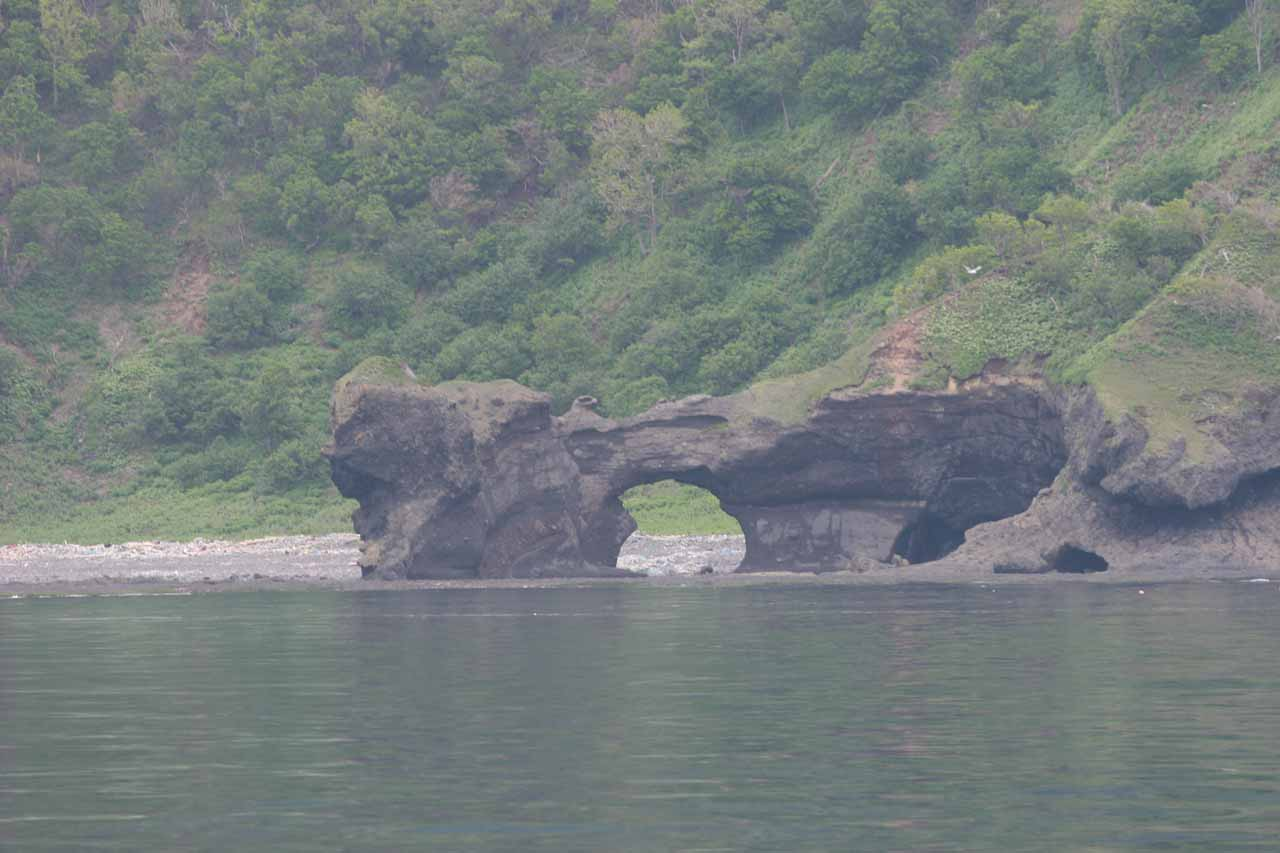 Unexpected sea arch on the coast of Shiretoko-hanto