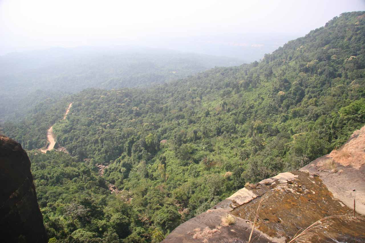 Looking over the top of a waterfall near the Shiva Rock looking towards Bangladesh