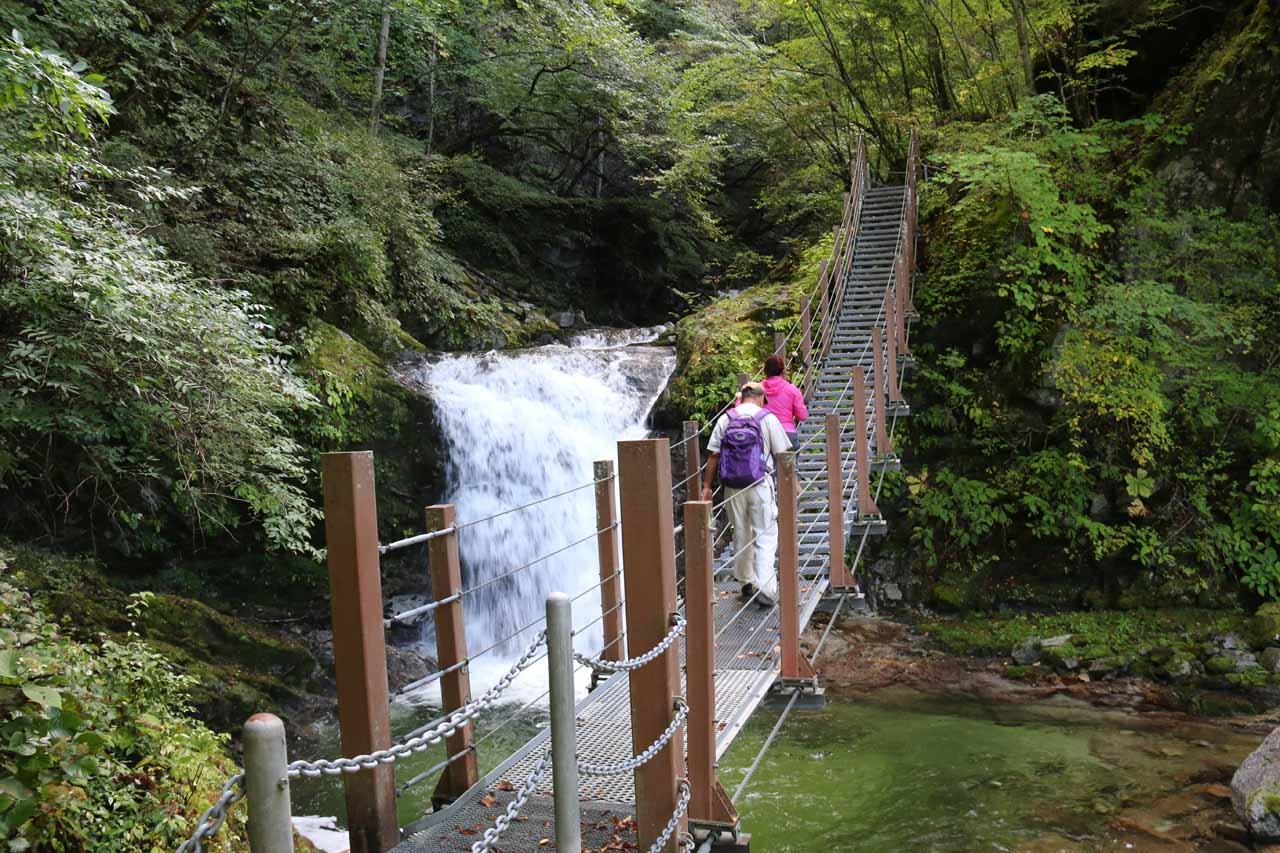 Mom and Dad traversing a suspension bridge crossing before the third intermediate waterfall on the Ishiutoro River