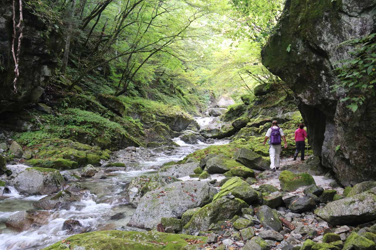 The Shoji Falls Trail continued to skirt the Ishiutoro River, which was flanked by boulders and rocks of all sorts of sizes