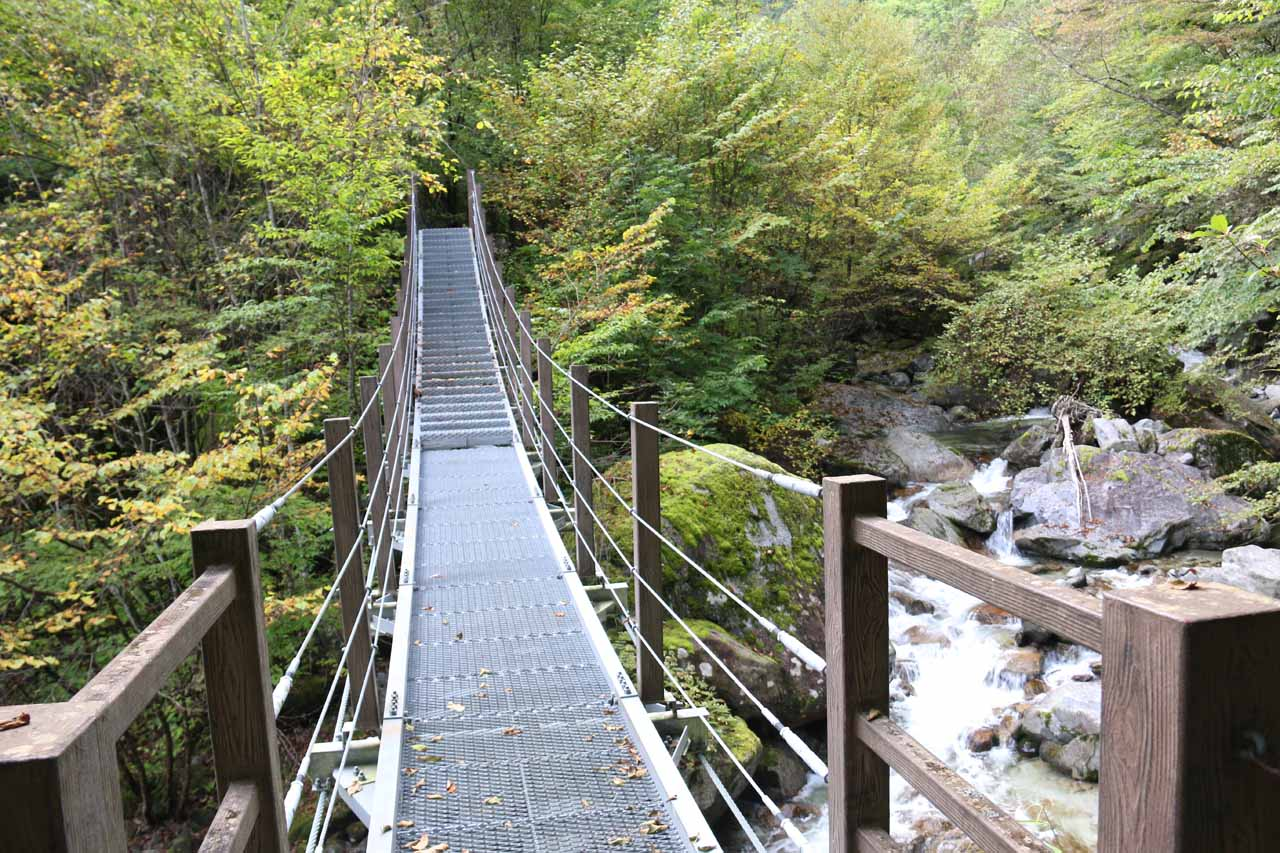 Swinging bridges like this one helped to make river traverses much easier