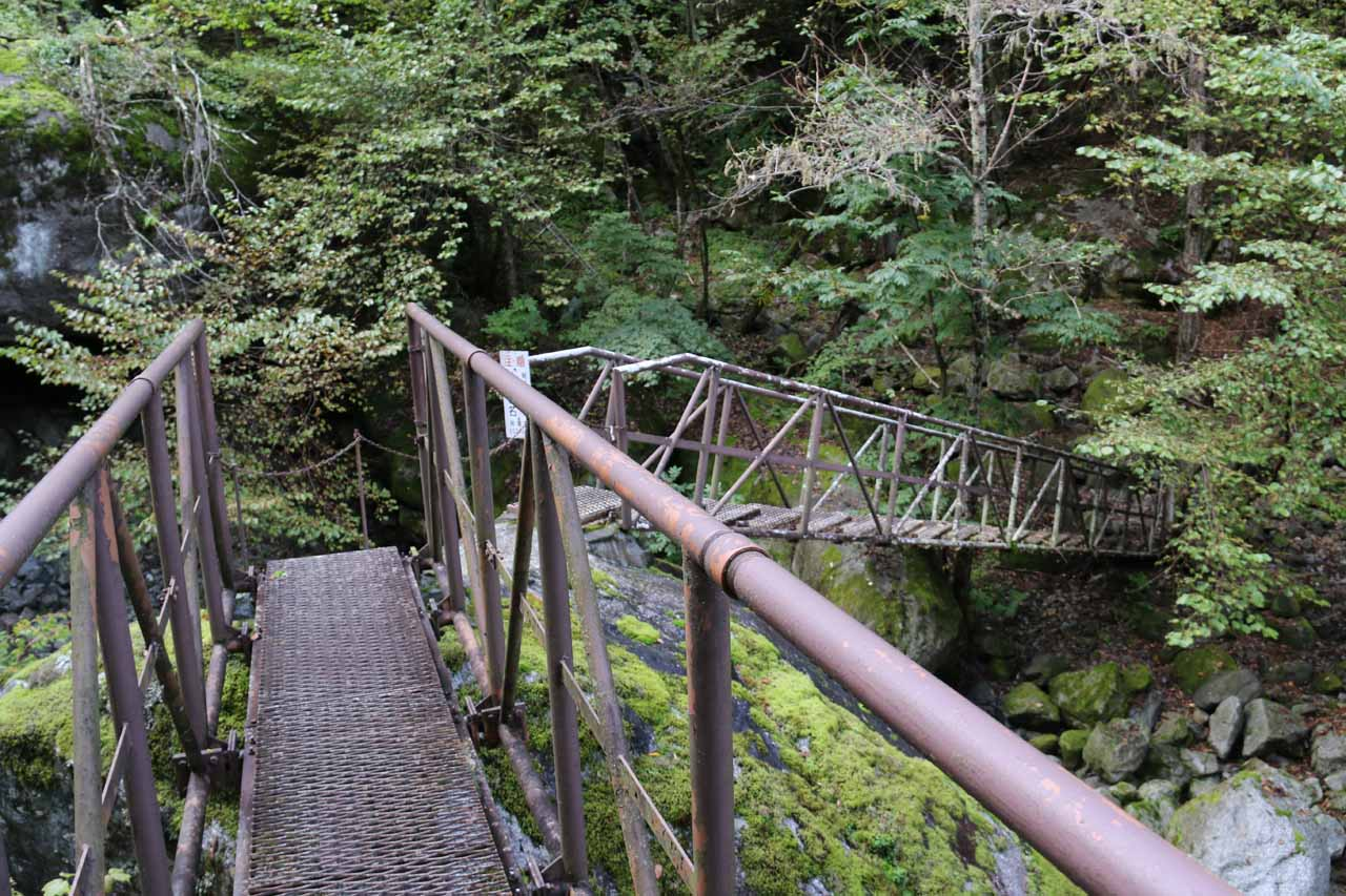 On the series of bridges facilitating the traverse of both the Ishiutoro River as well as giant (and slippery) boulders