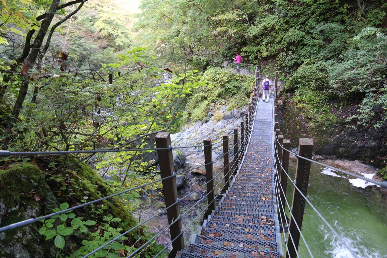 Traversing the footbridges and ladders again as we made our way down the intermediate cascades