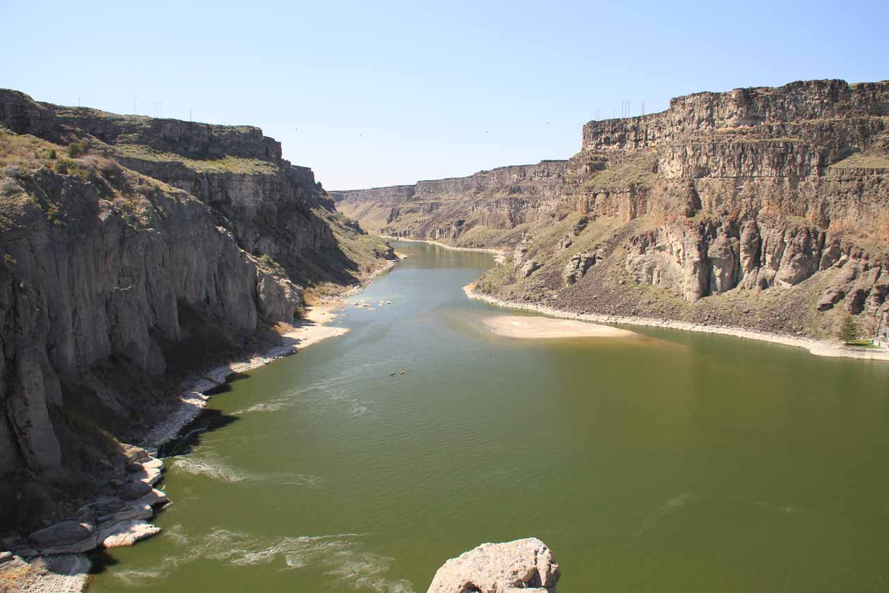 Looking downstream from Shoshone Falls at the canyon being carved out by the Snake River