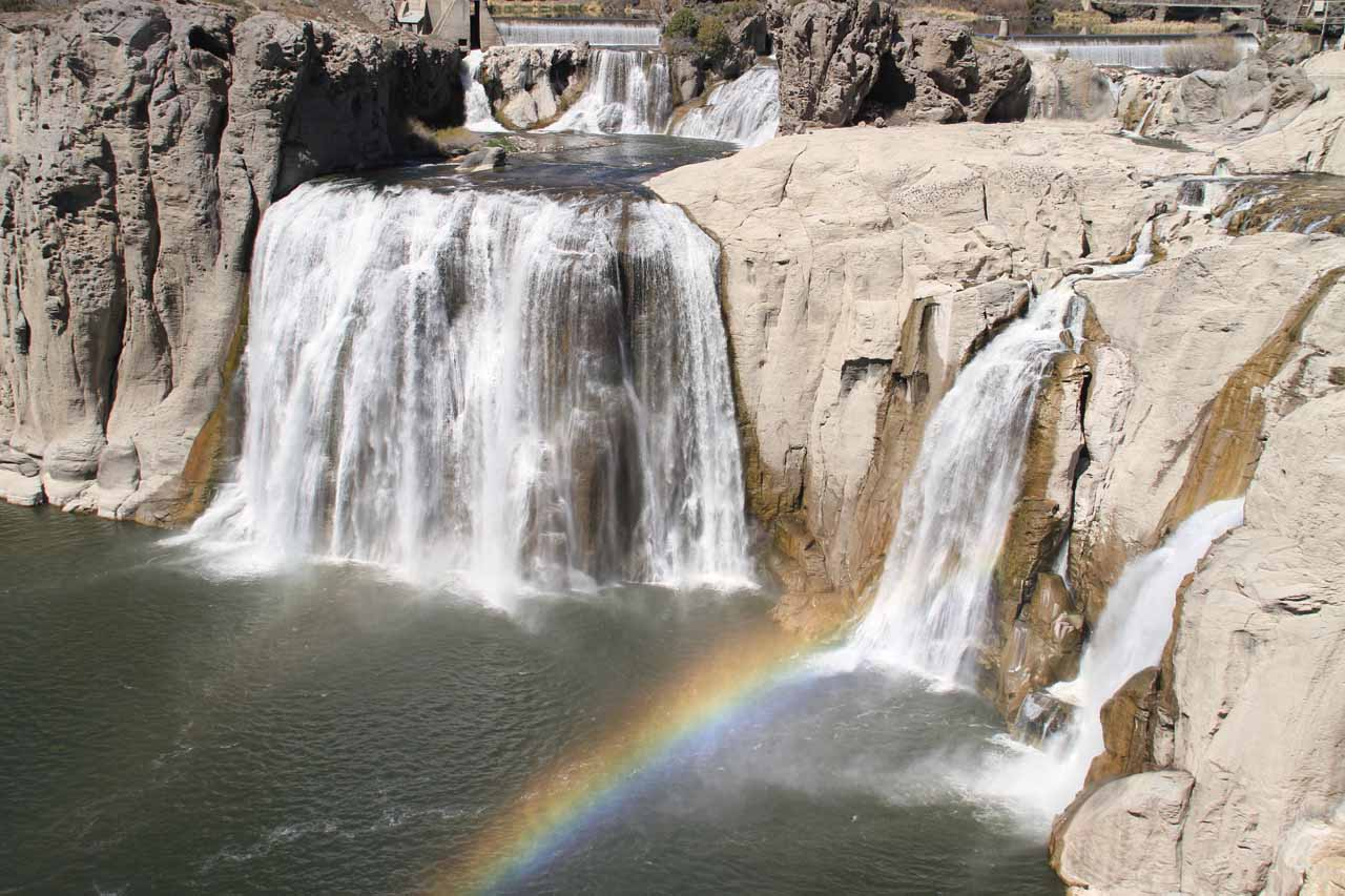 Shoshone Falls with double rainbow