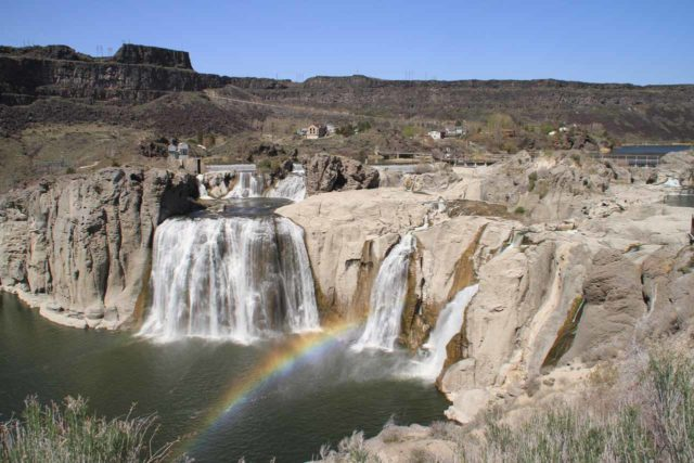 Shoshone_Falls_057_20130424 - Contextual view of Shoshone Falls revealing a good deal of hydroelectric artifacts around the waterfall