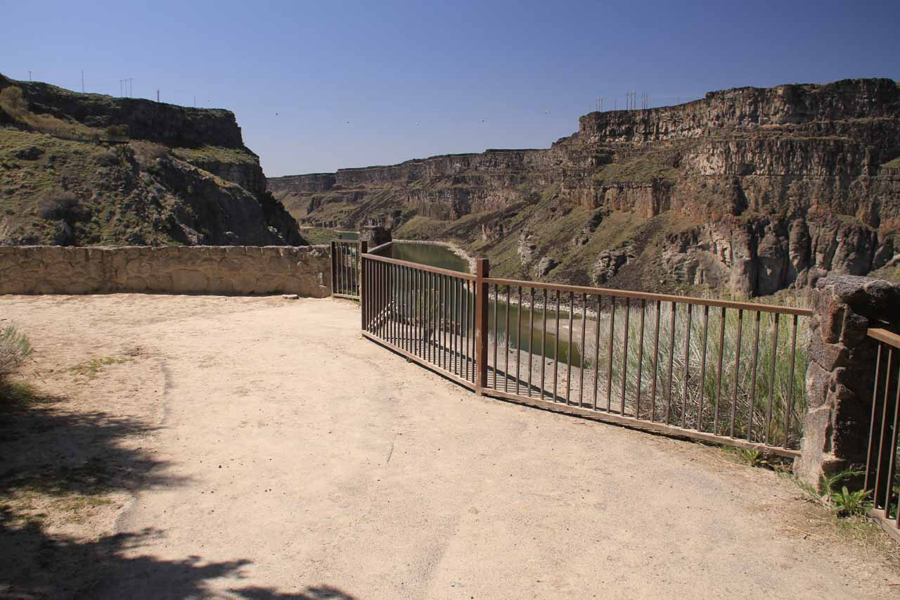 The paved walkway linking some of the other overlooks just downstream from the main overlook