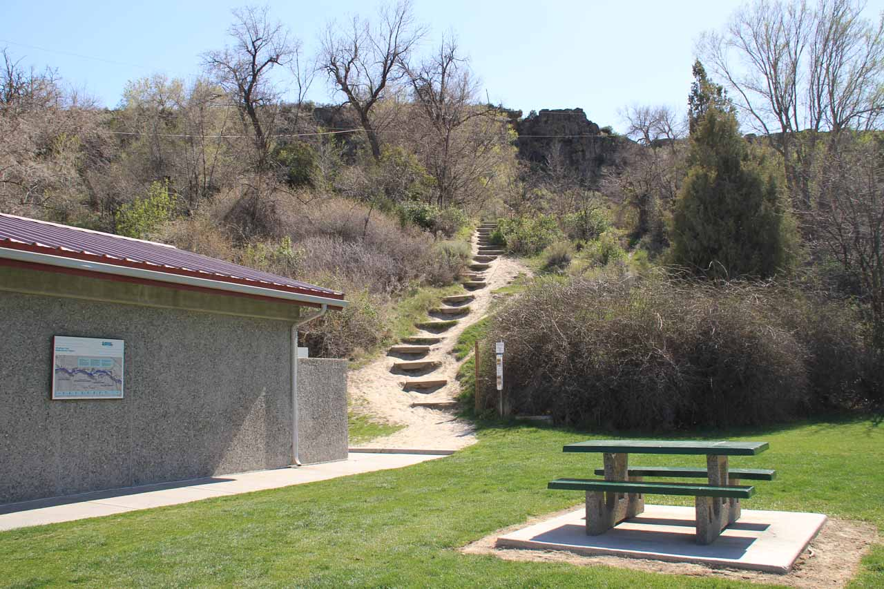 Going up the steps behind the souvenir shop towards the paved quarter-mile walk to the Evil Knievel Overlook