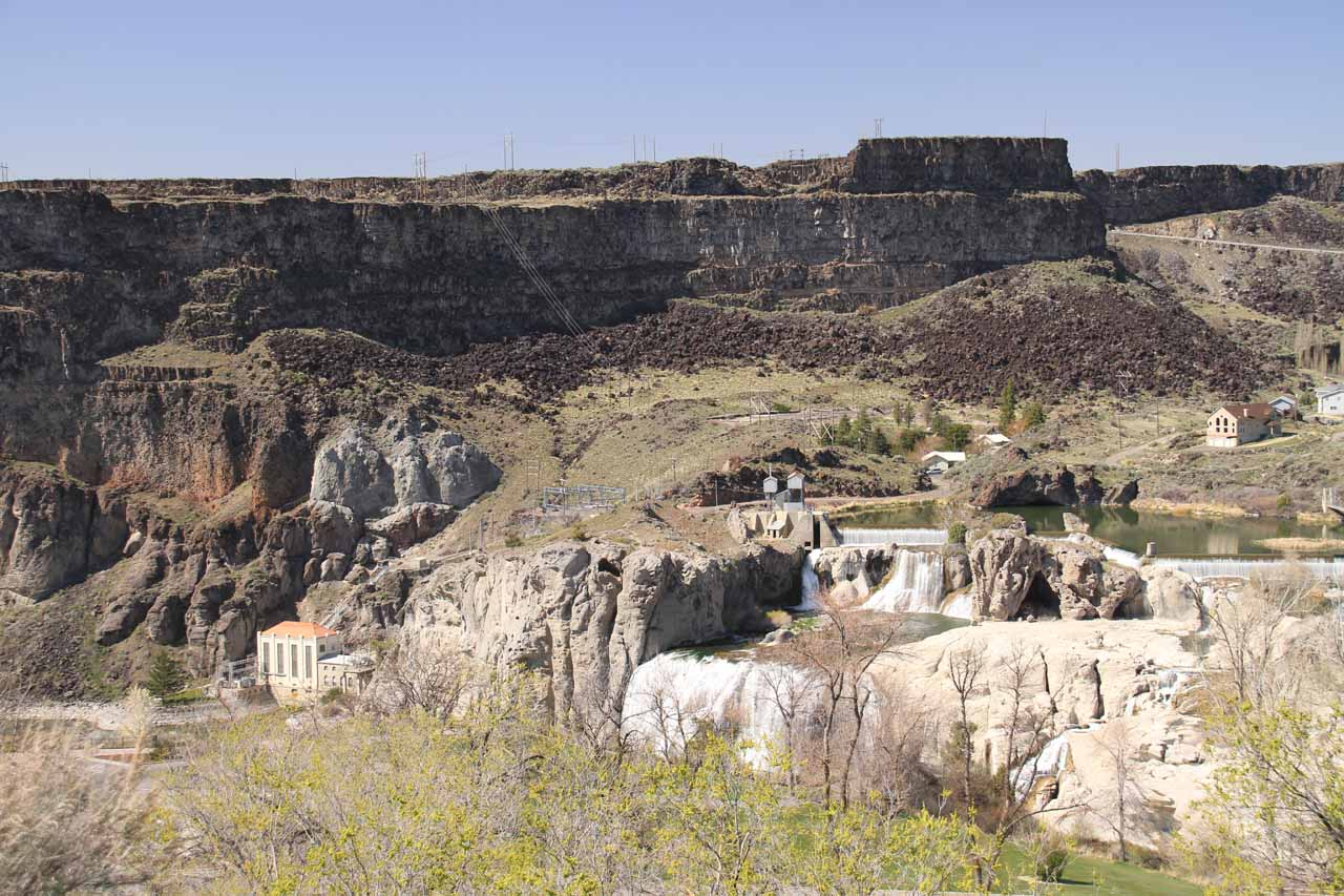 Look down at Shoshone Falls from the entrance kiosk area