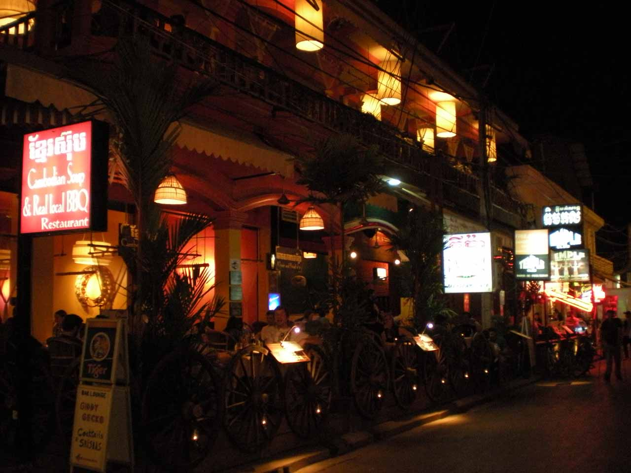 Busy scene at night in Siem Reap