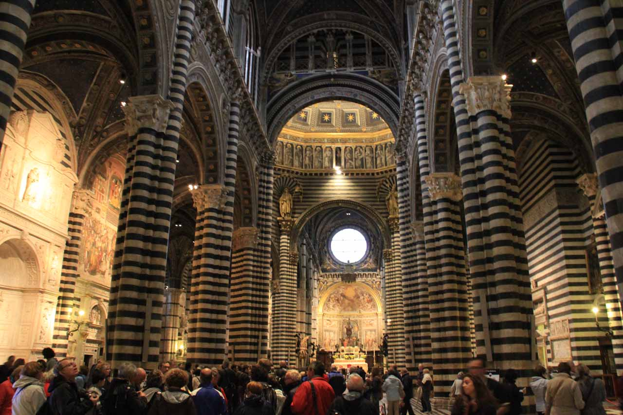 The elaborate interior of the Duomo in Siena