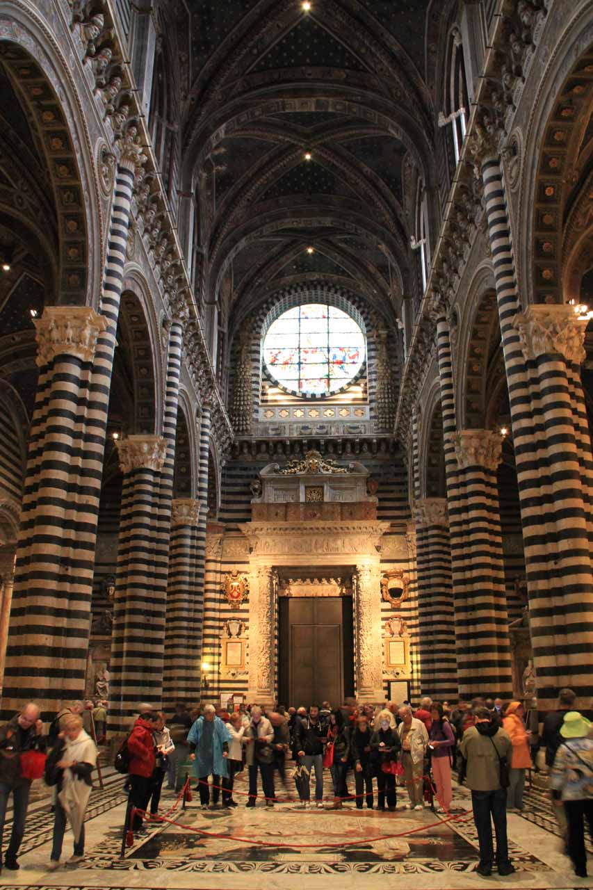 Looking back towards the entrance from within Siena's Duomo