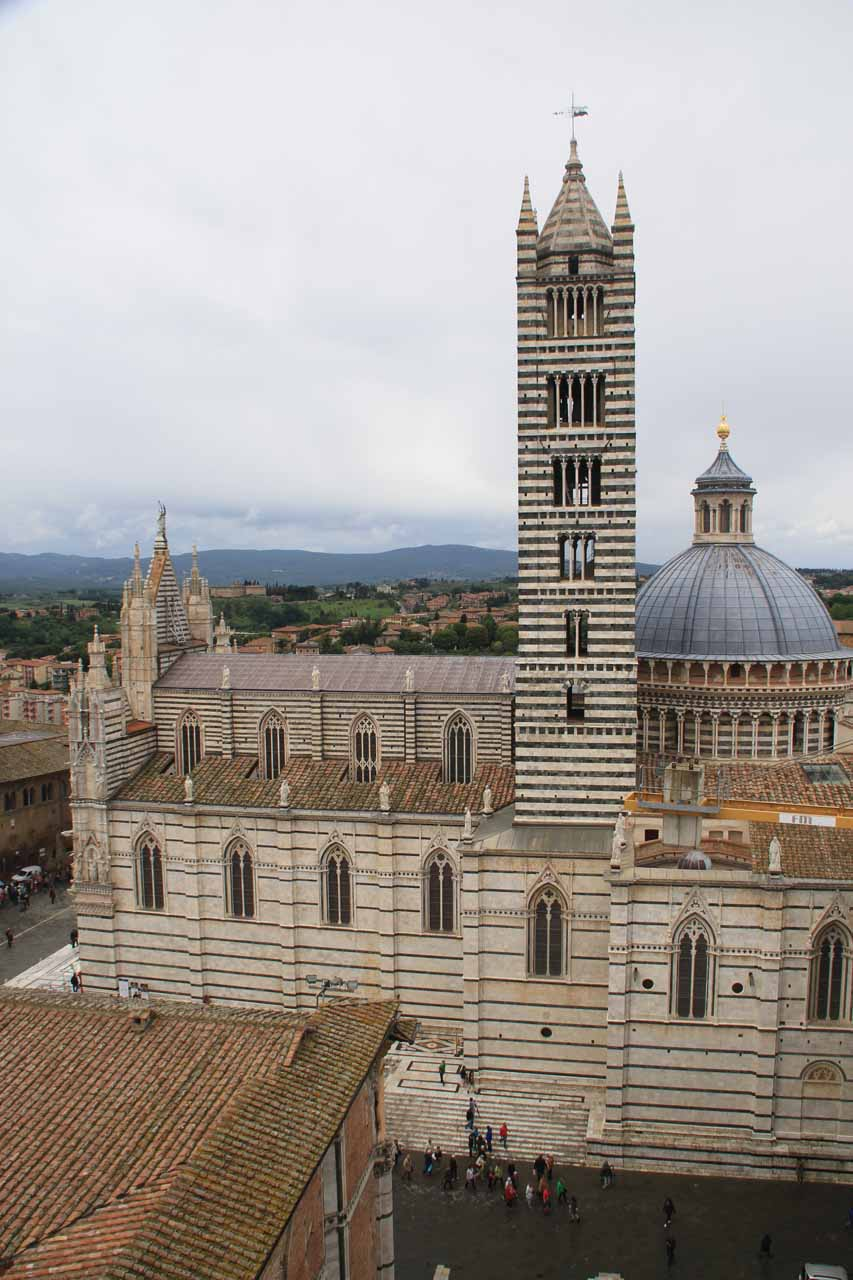 Looking back towards the Duomo and Campanile in Siena, which looked like it was getting some heavy renovation work from this side