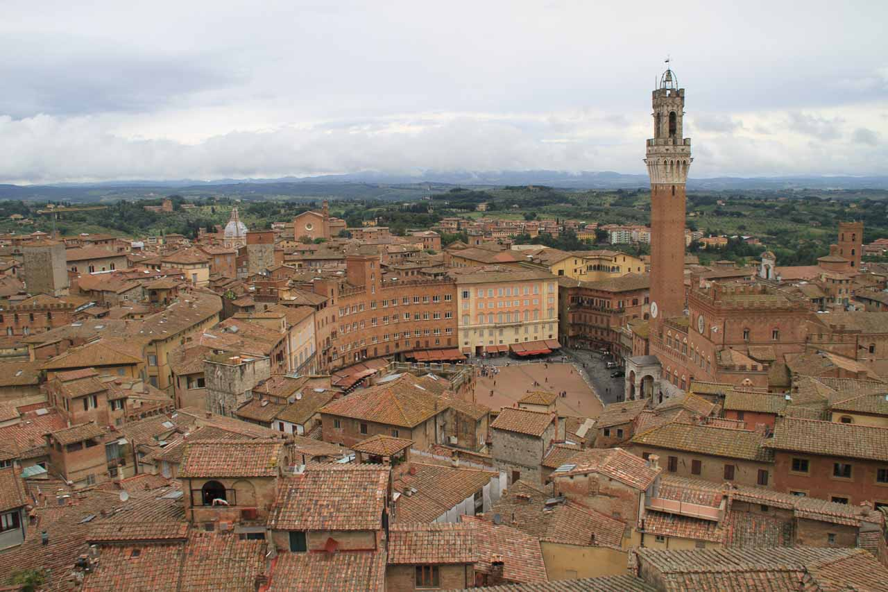 Another grand view of Siena, but this time it encompasses the Piazza del Campo