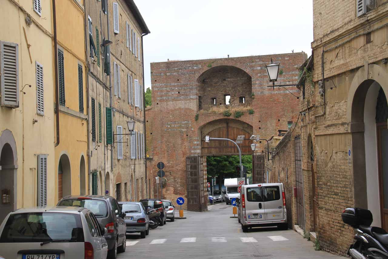 Approaching Porta di San Marco from a different street as we were about to leave Siena