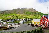 Siglufjordur_246_08142021 - Looking back towards the Kaffi Raudka and harbor from a playground area in Siglufjordur