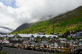 Siglufjordur_247_08142021 - Looking back across a harbor towards the Siglo Hotel as clouds were rapidly coming in from the north in Siglufjordur