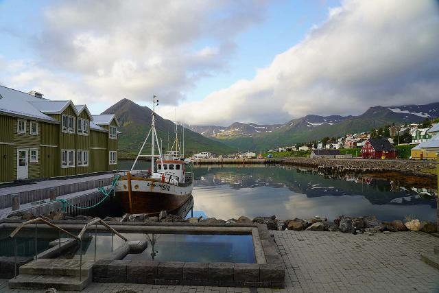 Siglufjordur_292_08142021 - Checking out the harbor and reflections in the harbor looking back from the scenic town of Siglufjörður towards its backing mountains in the direction of Skarðsdalur