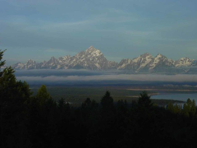 Signal_Mountain_005_06262004 - View of the Teton Range above the early morning fog from atop Signal Mountain