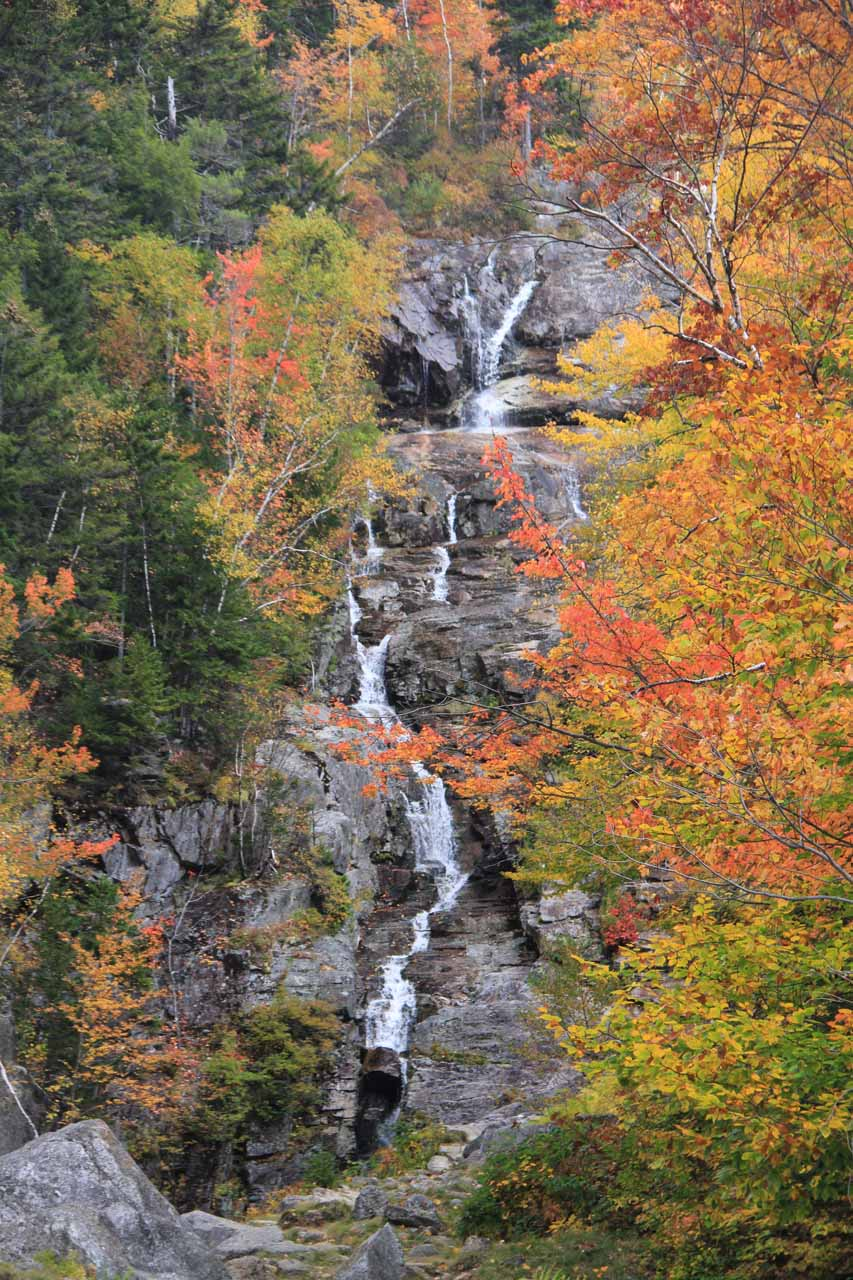 Focused in on the upper tiers of the falls while being accentuated by the beautiful Autumn foliage