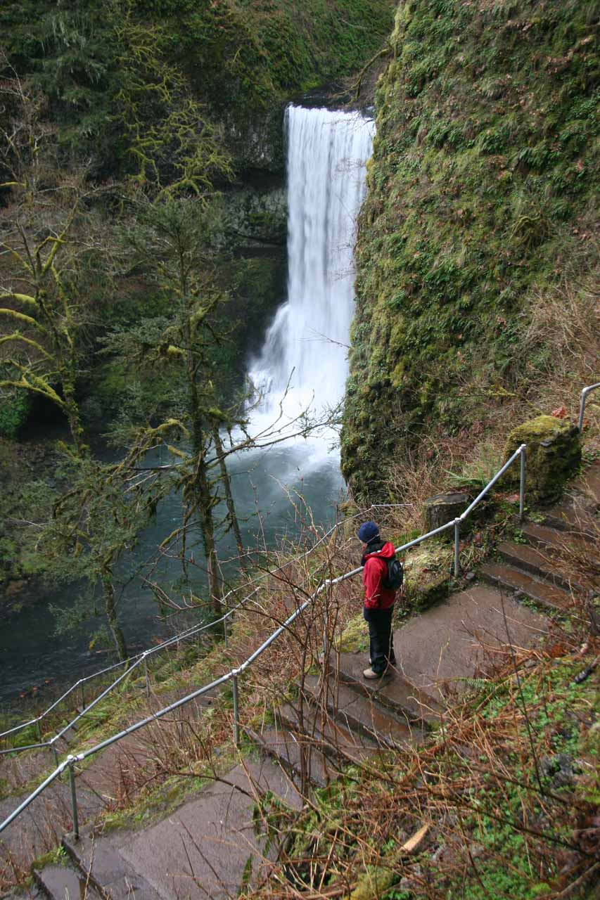 Julie descending steps as she approached Lower South Falls