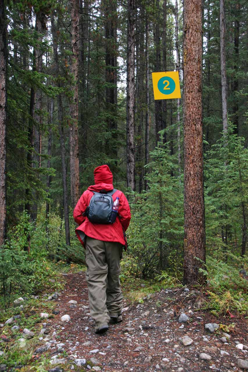 Julie on some unmarked trail except for these '2' signs that we weren't sure what they meant