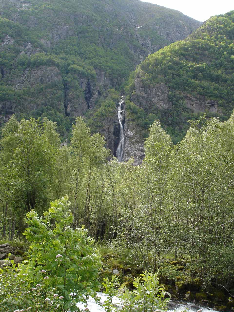 Looking across Simadalen Valley towards some obscure waterfall