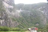 Simadalen_013_06252019 - Looking towards a waterfall spilling towards Øvre Eidfjord with a farm providing a sense of scale of how big some of these waterfalls are