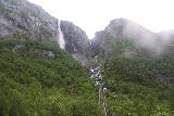 Simadalen_032_06252019 - Looking up at Skykkjedalsfossen or Skytjefossen just before the fast-moving clouds rolled in and obscured the falls