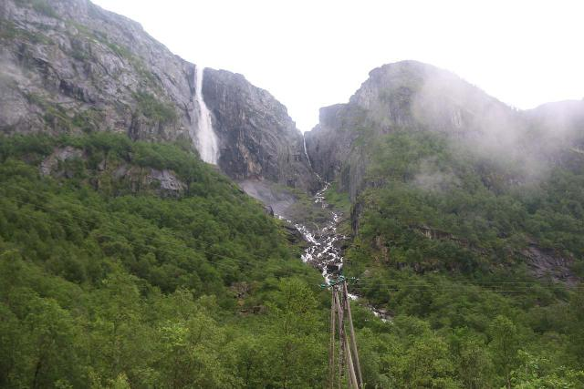 Simadalen_032_06252019 - Context of Skykkjedalsfossen with a power pylon fronting it, which hinted that there was definitely hydroelectric activity going on here