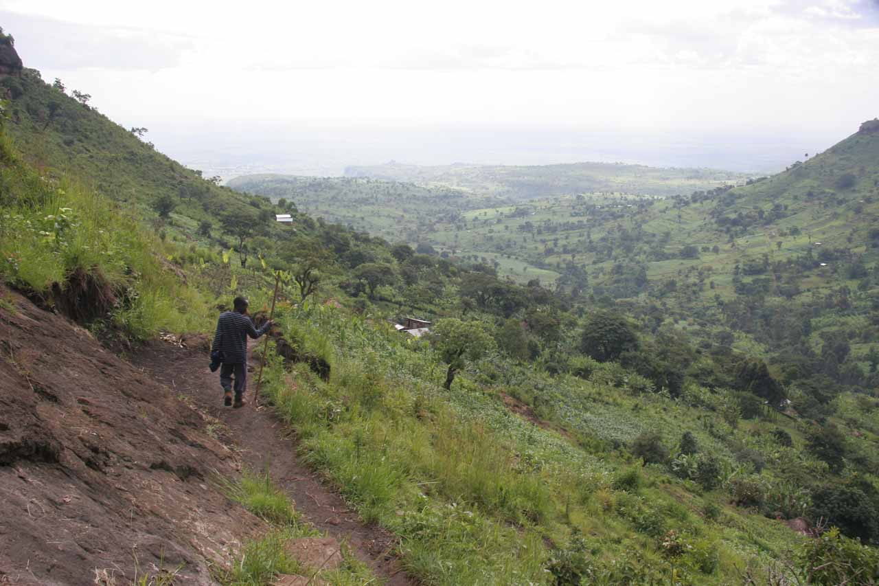 Trail and panorama leading to base of the main Sipi Falls