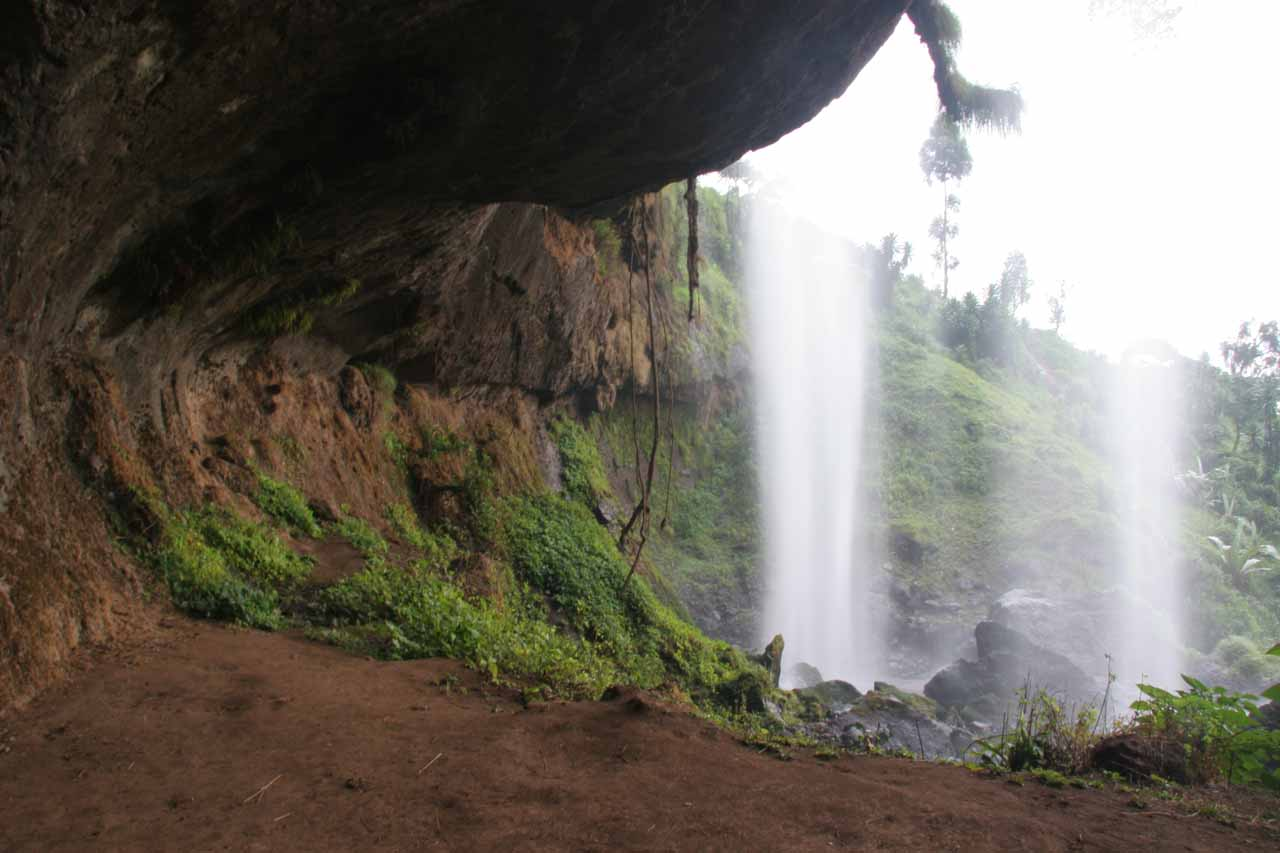 Looking out from behind the second Sipi Falls