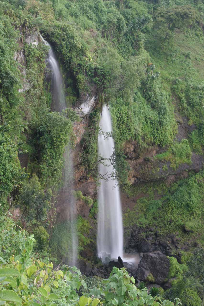 Looking down at the second Sipi Falls as we were ascending towards its top