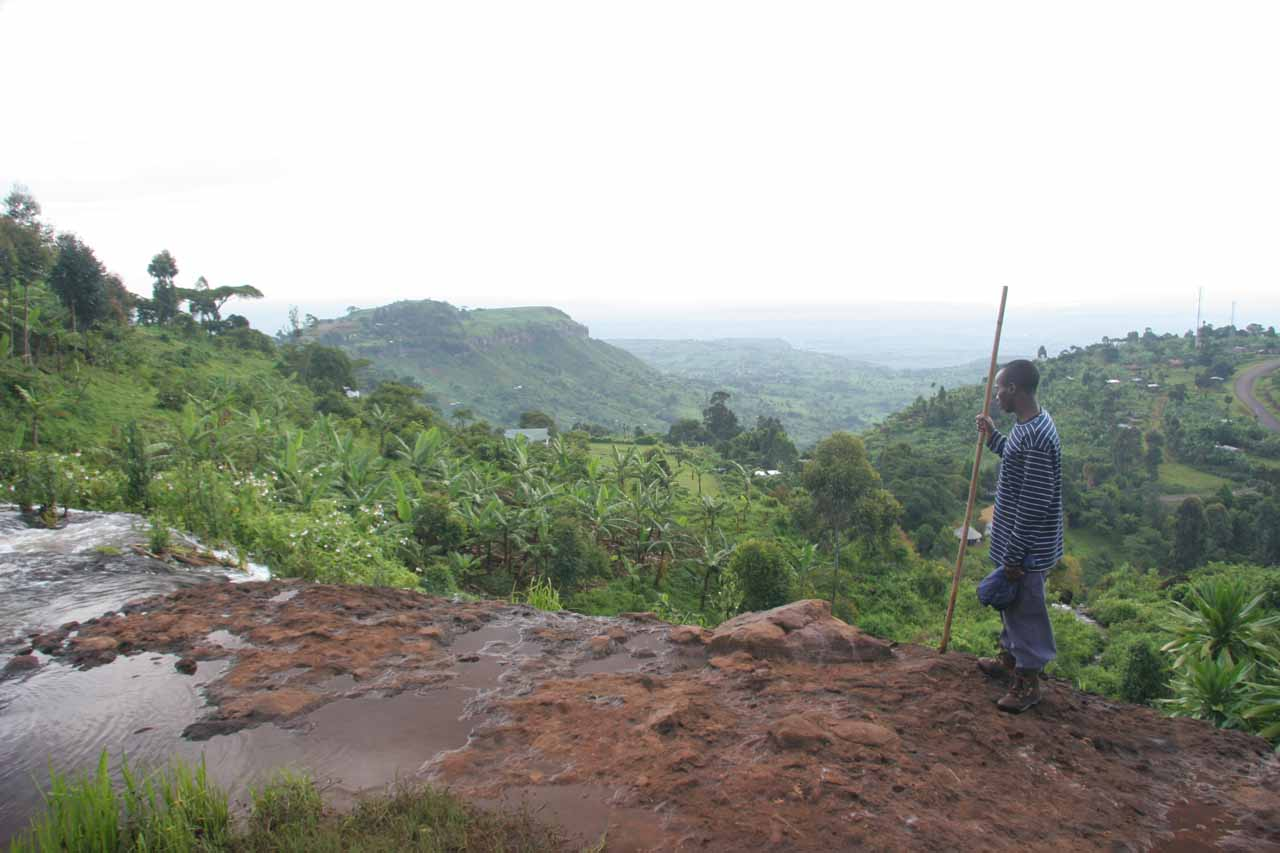 Looking over the top of the second Sipi Falls towards the panorama downslope of Mt Elgon
