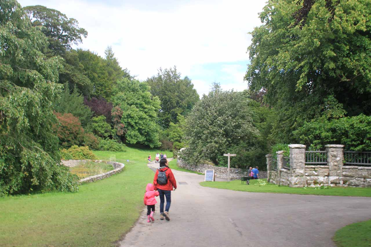 Julie and Tahia walking in the Sizergh Castle complex