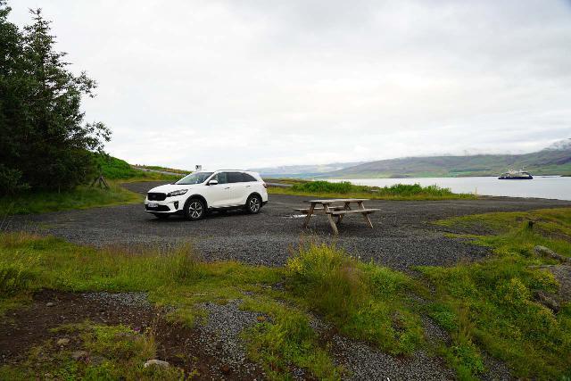 Sjavarfoss_004_08042021 - Looking back at the context of the car park and picnic table for Sjávarfoss
