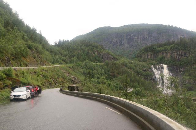 Skjervsfossen_026_06252019 - Context of the pullout by the uppermost of the switchbacks where I essentially had to share the road with motorists to get the best view of Skjervsfossen in June 2019