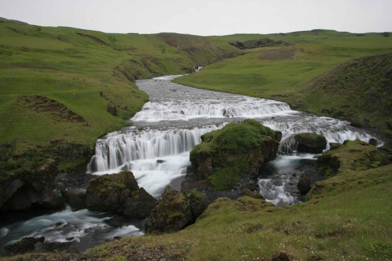 The first waterfall upstream from Skogafoss