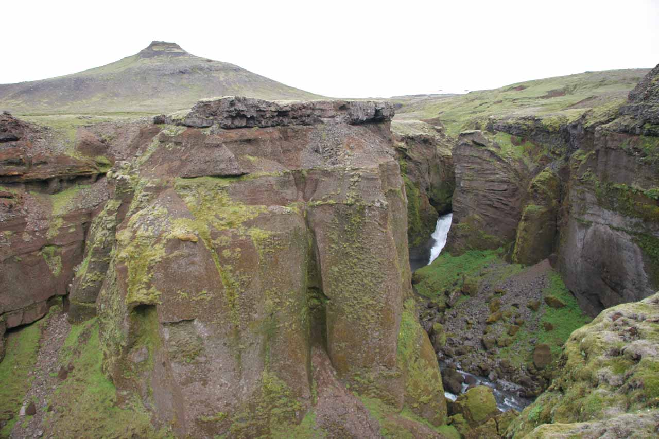 This hard-to-see and distant waterfall was what I thought to be Foss #13