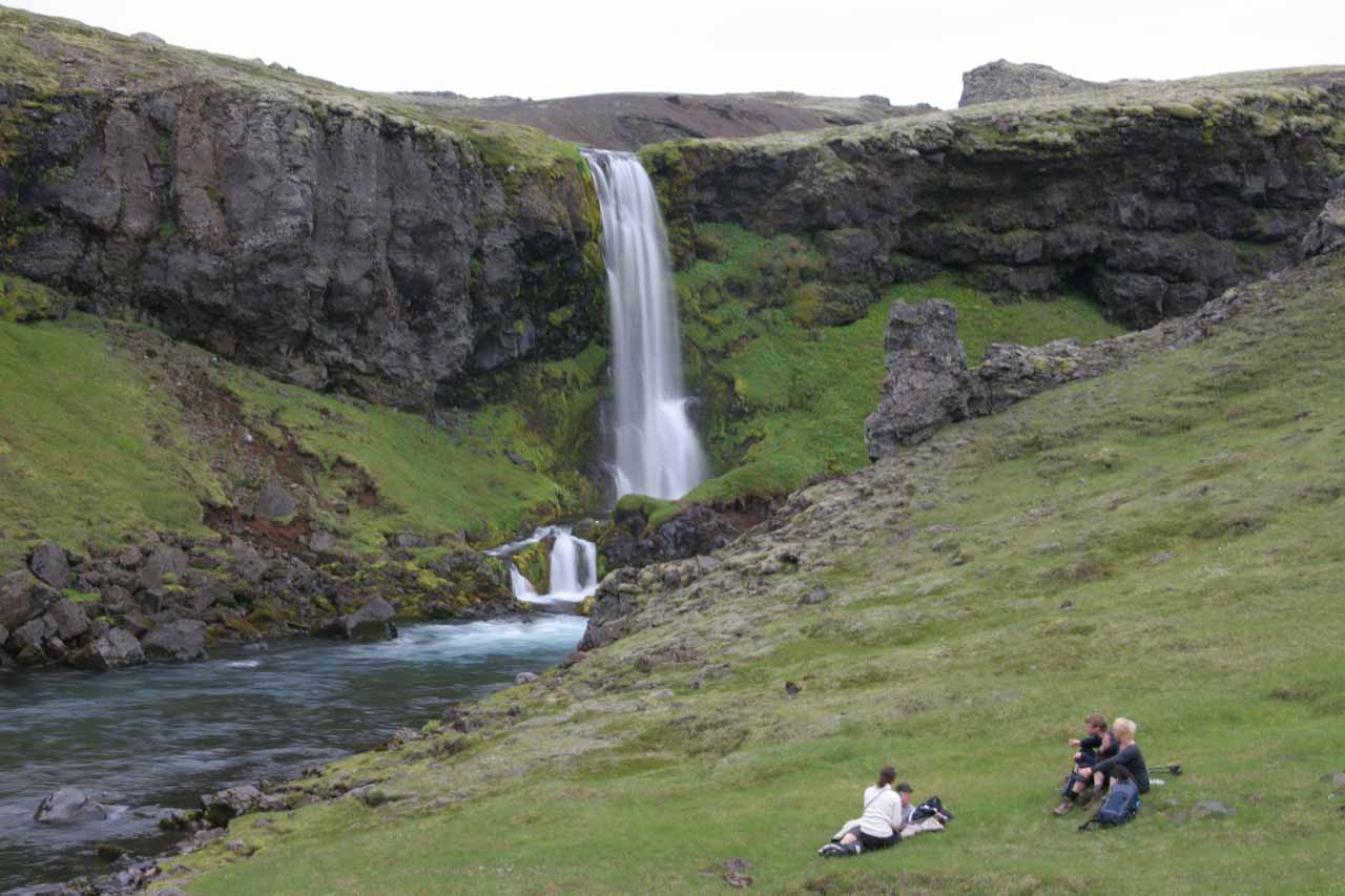 The young group of hikers that caught up to me decided to chill out in front of this waterfall, which I called Foss #18
