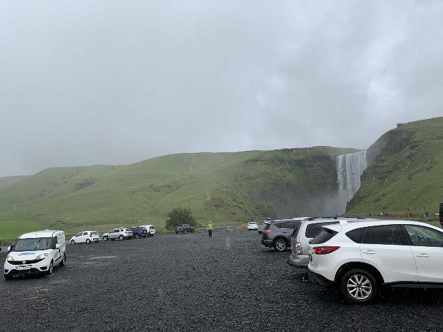 Skogafoss_001_iPhone_08072021 - The large and very spacious car park for Skógafoss under some nasty weather